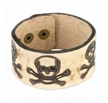 Bracelet cuir beige têtes de mort