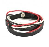 Bracelet cuir noir rouge et blanc