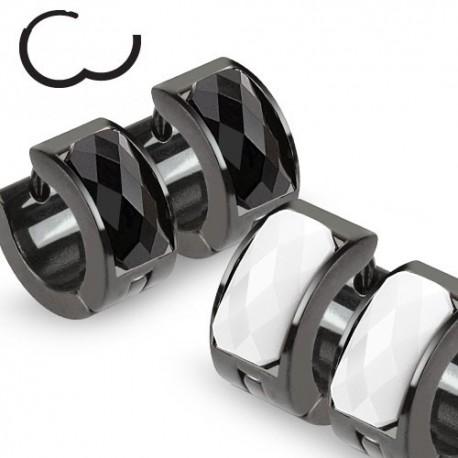 Paire Boucles d'oreille noir gemme à facettes