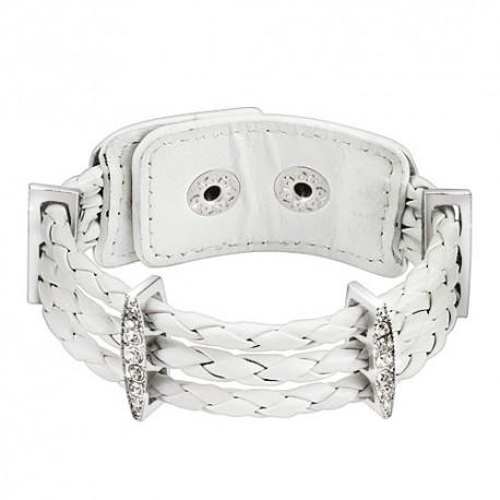 Bracelet femme cuir blanc tressé