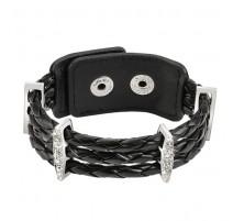 Bracelet femme cuir noir tressé