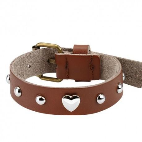 Bracelet femme cuir marron coeur
