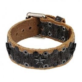 Bracelet cuir marron noir étoiles
