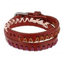 Bracelet cuir rouge 3 tons