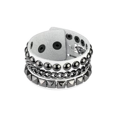 Bracelet femme cuir blanc chaine