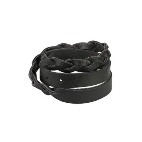 Bracelet cuir noir tressé double