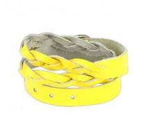 Bracelet cuir jaune tressé double