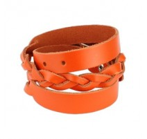 Bracelet cuir orange tressé double