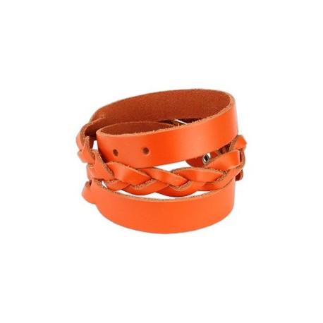 Bracelet cuir orange tressé double