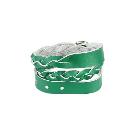 Bracelet cuir vert tressé double