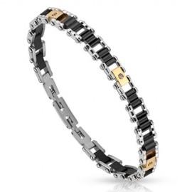 Bracelet acier inoxydable cylindres noirs