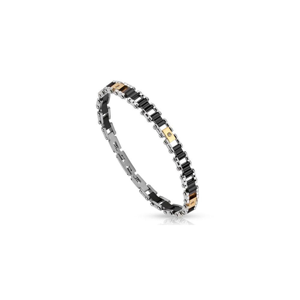 bracelet acier inoxydable cylindres noirs. Black Bedroom Furniture Sets. Home Design Ideas
