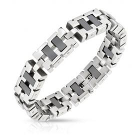 Bracelet acier inoxydable liens rectangulaires