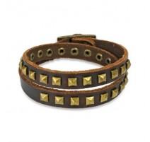 Bracelet cuir marron pyramides
