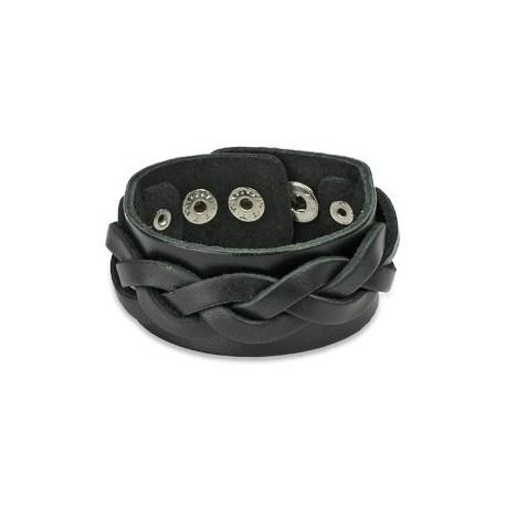 Bracelet cuir noir avec brin tressé