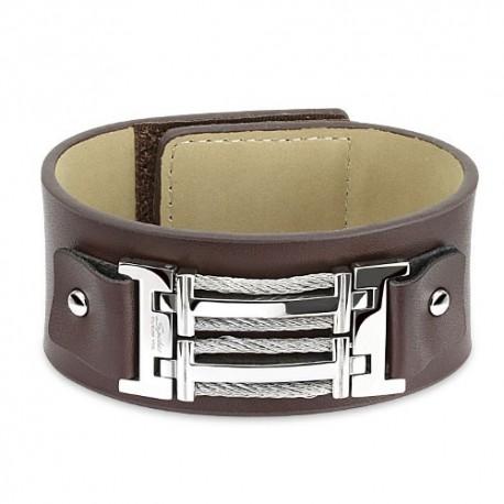 Bracelet homme cuir marron boucle