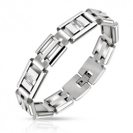 Bracelet acier inoxydable pierres zircon