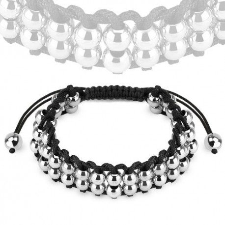 Bracelet femme perles acier