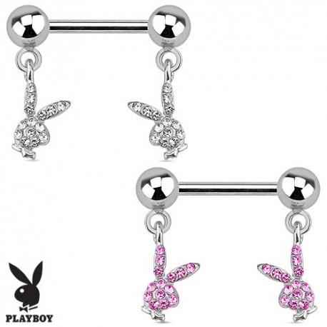 Piercing téton Playboy lapins strass
