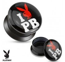 Piercing plug acrylique I love Playboy