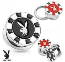 Piercing plug Playboy jeton poker