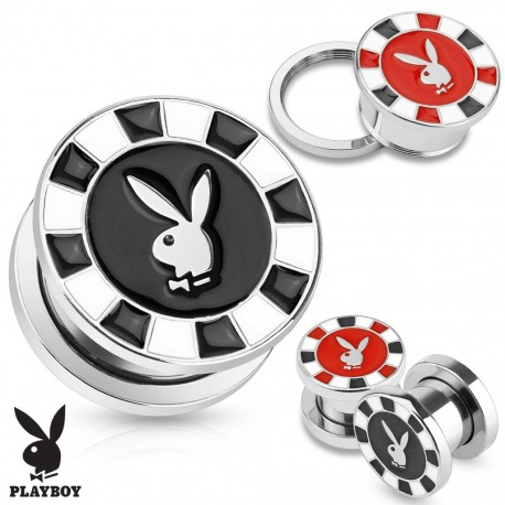 Piercing plug Playboy jeton poker