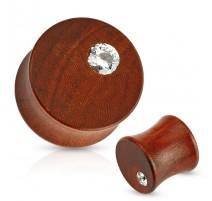 Piercing plug bois acajou strass