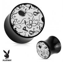 Piercing plug acrylique noir Playboy