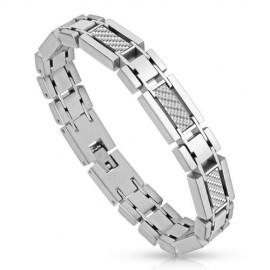 Bracelet homme acier fibre de carbone blanche