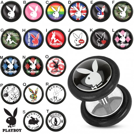 Faux Piercing plug Playboy