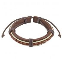 Bracelet cuir marron et beige