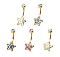 Piercing nombril Crystal Evolution Swarovski Doré Etoile