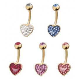 Piercing nombril Crystal Evolution Swarovski Doré Coeur