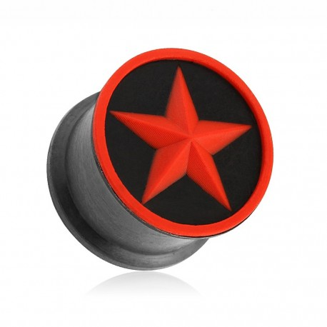 Piercing plug silicone étoile rouge