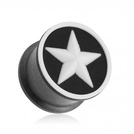 Piercing plug silicone étoile blanche