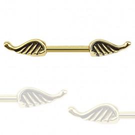 Piercing téton ailes d'ange doré