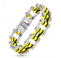 Bracelet homme acier inoxydable chaine de moto noir et jaune
