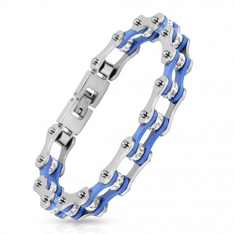 Bracelet homme acier inoxydable chaine de moto bleu