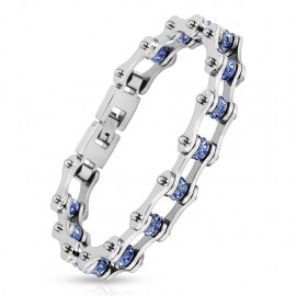 Bracelet homme acier inoxydable chaine de moto gemmes bleu
