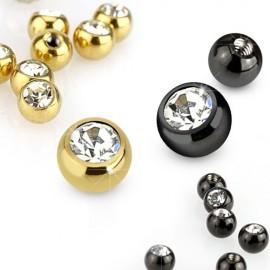 Boule de piercing en titane avec strass