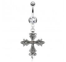 Piercing nombril pendentif croix gothique