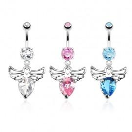 Piercing nombril ailes d'ange gemme