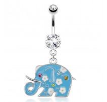 Piercing nombril éléphant bleu