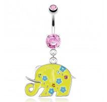 Piercing nombril éléphant jaune