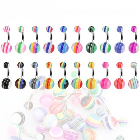 Lot de 20 Piercing Nombril Striés 5 Bandes