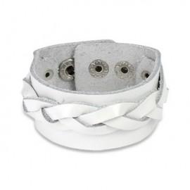 Bracelet cuir blanc avec brin tressé