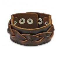Bracelet cuir marron avec brin tressé