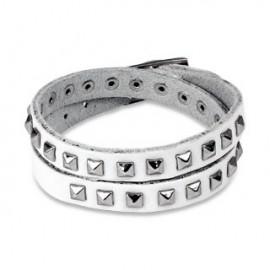 Bracelet cuir blanc pyramides