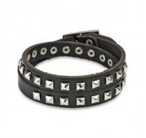 Bracelet cuir noir pyramides