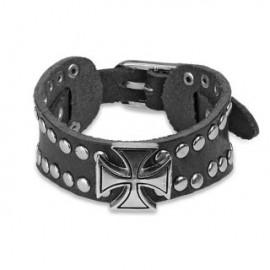 Bracelet homme cuir noir croix celtique